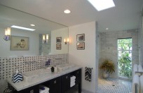 Bathroom #4 with large walk-in shower, 2 sinks, toilet
