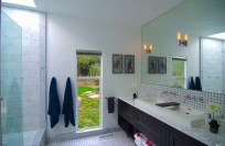 Master Bathroom with skylight, 2 sinks and sunken tub/glass shower