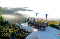 View from upper deck to ocean with marine layer