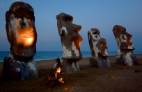 Easter Island statues during Kosmosis event 2012 at Cuixmala Beach