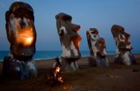Easter Island statues during Kosmosis event 2012 at Cuixmala Beach